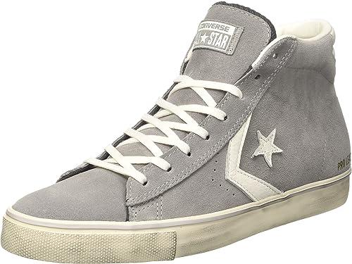 Converse 158934C Gray White PRO Leather Mid Scarpe Ragazza Lacci ...
