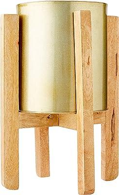 Homemania - Maceta Elegante, Decorativa, Porta Objetos, Dorado, Madera de Mango, Aluminio, 22 x 22 x 50 cm