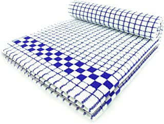 Fecido Classic Kitchen Dish Towels with Hanging Loop - Heavy Duty Absorbent Dish Clothes - European Made 100% Cotton Tea Towels - Set of Two, Blue