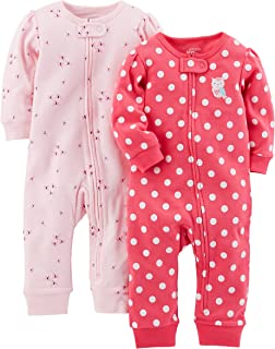 Girls' 2-Pack Cotton Footless Sleep and Play
