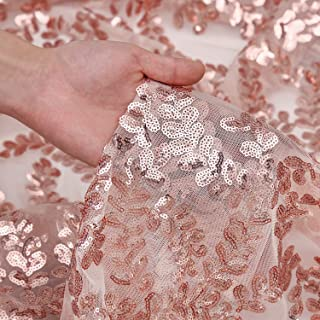 QueenDream Rose Gold Flower sequin fabric 4 Yards Rose Gold Flower Christmas sequin fabric sequins tablecloth long sequin tablecloth DIY party dress Fabric