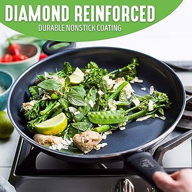 "GreenLife Soft Grip Diamond Healthy Ceramic Nonstick, Griddle Pan, 11"", Black"
