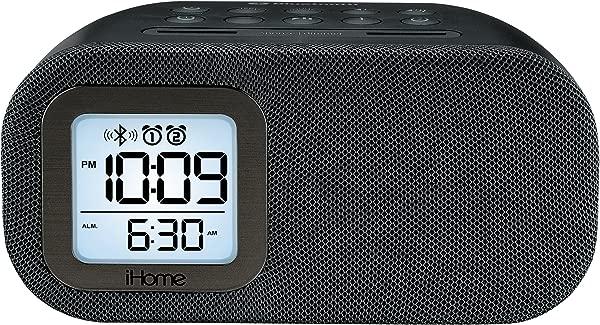 IHome IBT210B Bluetooth Dual Alarm FM Clock Radio With Speakerphone And USB Charging Black