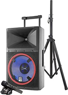 Altec Lansing ALP-L2200PK Lightning Series Indoor Outoor Ultra Powerful Bluetooth 2200 Peak Watt Speaker with Party Lights and Built in Media Player