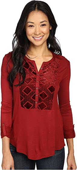 Lucky Brand Burnout Velvet Bib Top