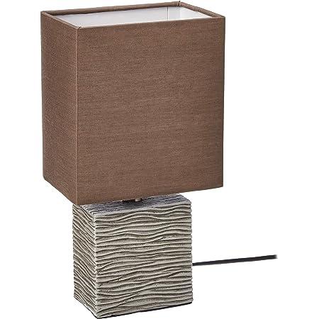 Umi. by Amazon Lampe de table, abat-jour en tissu et base rectangulaire en bois, 29,21 cm