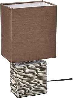 Umi. by Amazon - Lámpara de mesa, pantalla de tela, base rectangular de madera, 29,21cm