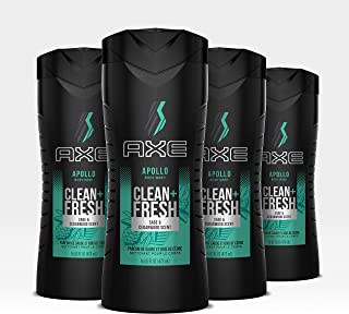 Axe Apollo Men's Body Wash For a Clean and Fresh feel Body, Face and Hair Dermatologist Tested 16 oz, 4 count