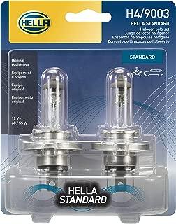 HELLA H4TB Base P43t-60/55W Standard Halogen H4 Bulbs, 12 V, 60/55W, 2 Pack