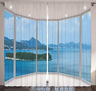 Ambesonne Landscape Curtains, Seascape Beach Seaside Hills Trees View from Window Picture Tropical Panorama, Living Room Bedroom Window Drapes 2 Panel Set, 108
