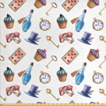 Lunarable Alice in Wonderland Fabric by The Yard, Cupcakes Mushrooms and Bottles Hanging in Sky Dessert Print, Decorative Fabric for Upholstery and Home Accents, 1 Yard, Multicolor