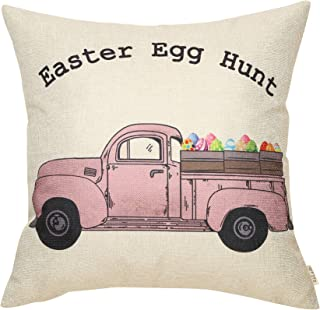 Fjfz Rustic Farmhouse Decor Easter Egg Hunt Sign Vintage Egg Truck Decoration Spring Country Gift Cotton Linen Home Decorative Throw Pillow Case Cushion Cover with Words for Sofa Couch, 18