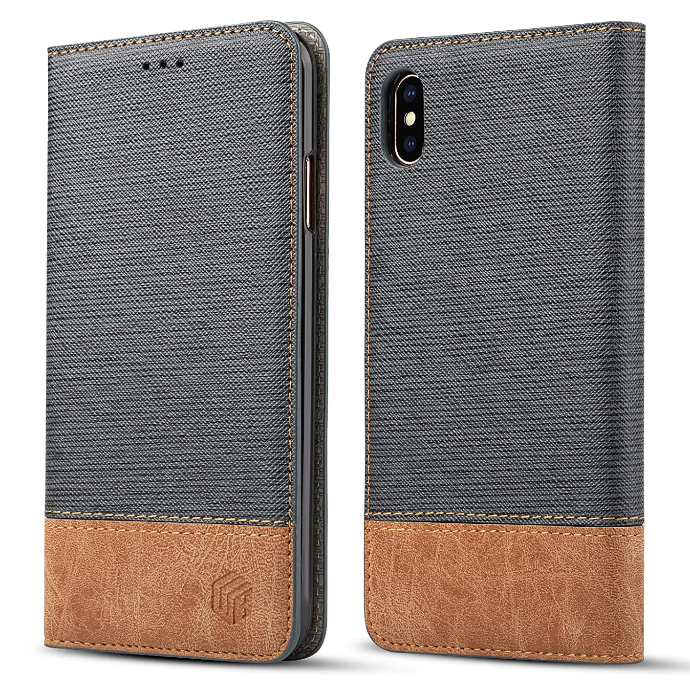 for iPhone Xs Max Wallet Case,WenBelle Blazers Series,Stand Feature,Double Layer Shock Absorbing Premium Soft PU Color Matching Leather Cover Flip Cases for Apple iPhone Xs Max 6.5 inch (Grey)