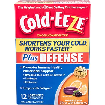 Cold-EEZE Plus Defense Cold-Shortening Lozenges, 12 Count, Cold Remedy, Citrus with Elderberry Flavor