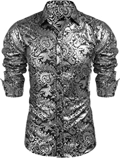 Men's Luxury Design Shirts Floral Dress Shirt Casual Button Down Shirts