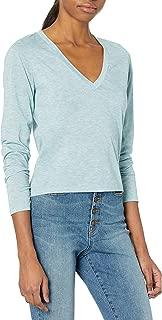Tresics Women's Trendy Basic Junior V-Neck Long Sleeve Cropped Top T-Shirt