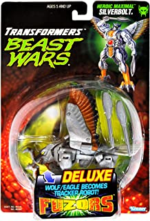 Kenner Year 1997 Transformers Beast Wars Fuzors Series Deluxe Class 7 Inch Tall Robot Action Figure - Heroic Maximal Tracker Robot SILVERBOLT with 2 Missiles/Clubs (Beast Mode: Wolf/Eagle)