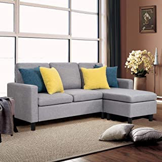 Shintenchi Sectional Sofa Couch Convertible Chaise Lounge, Modern Sofa Set for Living Room, L-Shaped Couch with Linen Fabric for Small Space, Grey