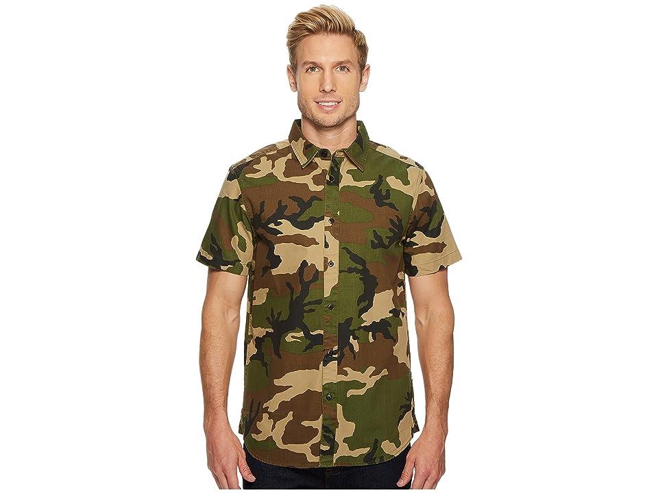 The North Face Short Sleeve Bay Trail Shirt (Terranium Green Camo) Men