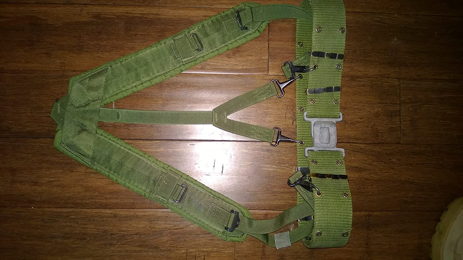 Military Outdoor Clothing Previously Issued US GI OD Green Utility Belt with Suspenders