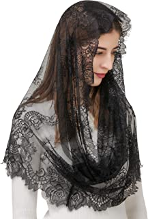 Pamor Spanish Style Lace Traditional Vintage Inspired Infinity Shape Mantilla Veil Latin Mass Head Covering