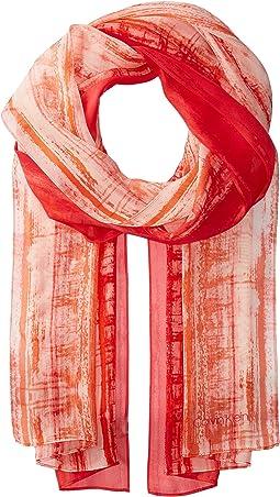 Calvin Klein Painterly Stripe Silk Scarf