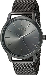 Steve Madden Men's Stainless Steel Japanese-Quartz Watch with Alloy Strap, Black, 22 (Model: SMMW002BK)