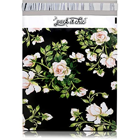 Pack It Chic - 10X13 (100 Pack) Floral Pattern Poly Mailer Envelope Plastic Custom Mailing & Shipping Bags - Self Seal