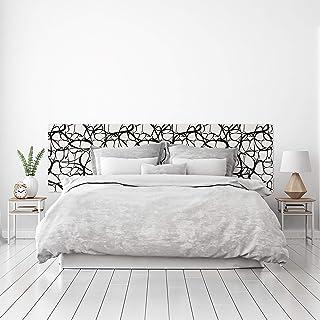 MEGADECOR Cabecero Cama PVC Decorativo Económico Diseño Moderno Suave Patrón Orgánico Fibras Blanco y Negro Varias Medidas (150 cm x 60 cm)