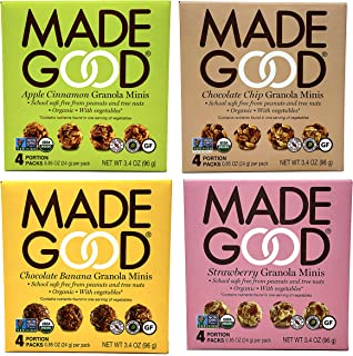 Made Good Organic Granola Minis – Variety Pack of 4 Flavors –Tree-Nut and Peanut-Free, Gluten-Free, Vegan, Kosher (4 Portion Packs Per Flavor)