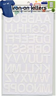 Dritz BL100HWT Iron-on Letters, Soft Flock, Block, 1-Inch, White (1-Sheet)