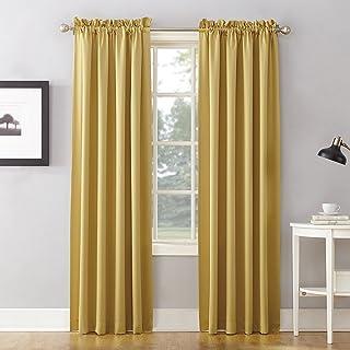 "Sun Zero Energy Efficient Rod Pocket Curtain Panel, 54"" x 95""-1, Flax Yellow"