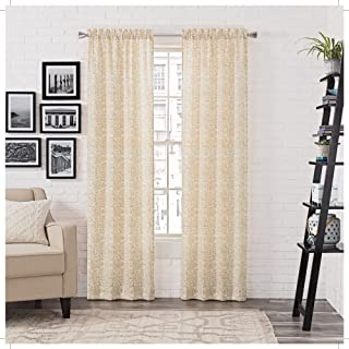 "PAIRS TO GO Brockwell 2-Pack Window Curtains, 56"" x 63"", Wheat, 2 Piece"