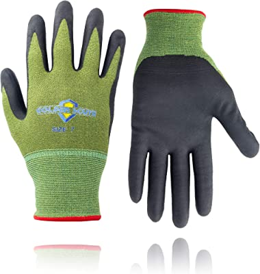 Golden Scute 3 Pairs Garden Work Bamboo Gloves for Women and Men, Breathable gloves with touchscreen for Gardening, Fishing, Clamming(Small/Size 7)
