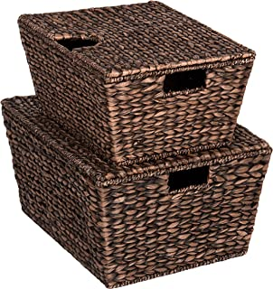 Best Choice Products Set of 2 Multipurpose Classic Water Hyacinth Woven Tapered Storage Basket Chests for Organization, Laundry, Decoration w/Attached Lid, Handle Holes, Brown