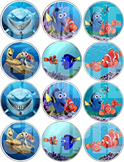 """Finding Nemo Stickers, Large 2.5"""" Round Circle Stickers to Place onto Party Favor Bags, Cards, Boxes or Containers -12 pcs Dory, Marlin, Nigel Underwater Ocean Sea"""