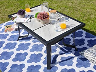 LOKATSE HOME Outdoor Patio Square Dining Table All Weather Furniture with Tile Top and Metal Legs
