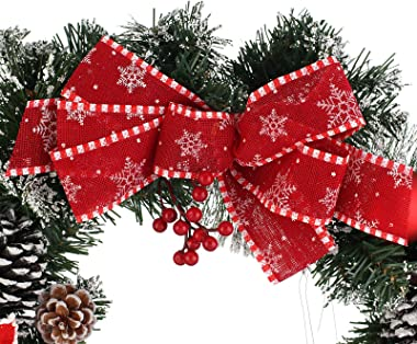 Z-Fruit Artificial Pine Wreath with Mixed Christmas Decorations for Christmas Party Décor, Front Door Indoor Outdoor Window W