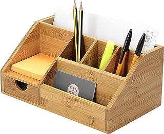 Stationery Organiser Letter Rack Notes Pen Pencil Holder, Made of Bamboo