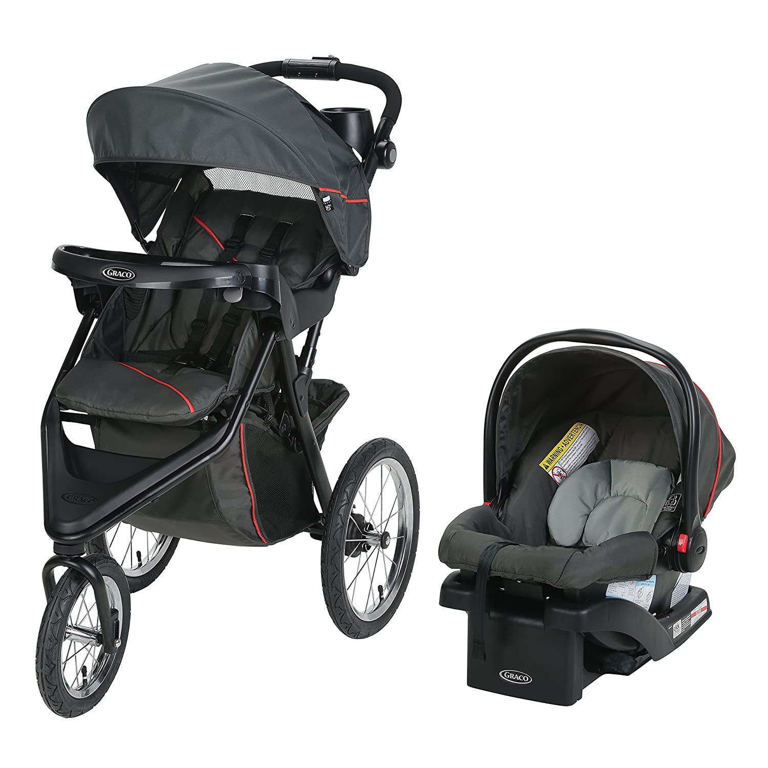 Graco Trax Jogger Travel System | Includes Trax Jogging Stroller and SnugRide 30 Infant Car Seat, Evanston