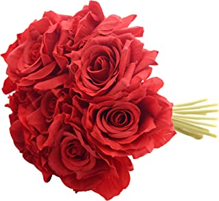 Fourwalls Artificial Polyester and Plastic Rose Bouquet (13 cm x 10 cm x 26 cm, Red)