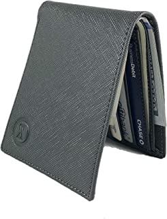 Men's slim front pocket Leather Bifold RFID Blocking business wallet for Women classic ID
