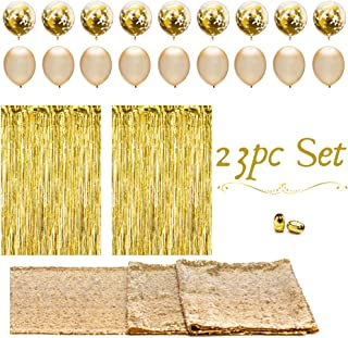 Artunique 23pc Gold Party Decorations & Party Supplies Kit   Huge Latex and Confetti Gold Balloons (18)   Gold Sequin Table Runner (1)   Gold Fringe Curtain Backdrop (2)   Gold Ribbon (2)  
