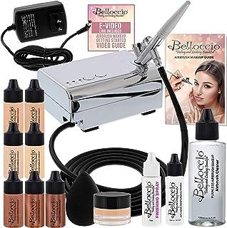 سیستم آرایش آرایشی زیبایی ایربروش زیبایی Belloccio با 4 سایه عادلانه بنیاد در بطری های 1/4 اونس - کیت شامل Blush ، Bronzer و Highlighter و 3 مورد Bonus و لینک تصویری
