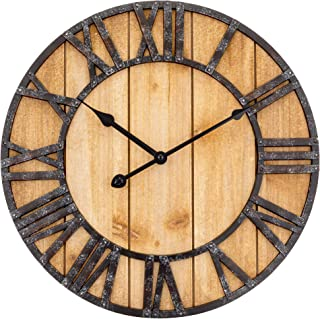 Westclox Wall Clock Large Wooden Vintage Clock with Roman Numerals - Battery Operated Clock for Living Room, Bedroom, Kitc...