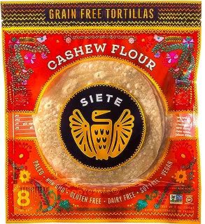 Siete Cashew Flour Grain Free Tortillas, 8 Tortillas Per Pack, 3-Pack, 24 Tortillas