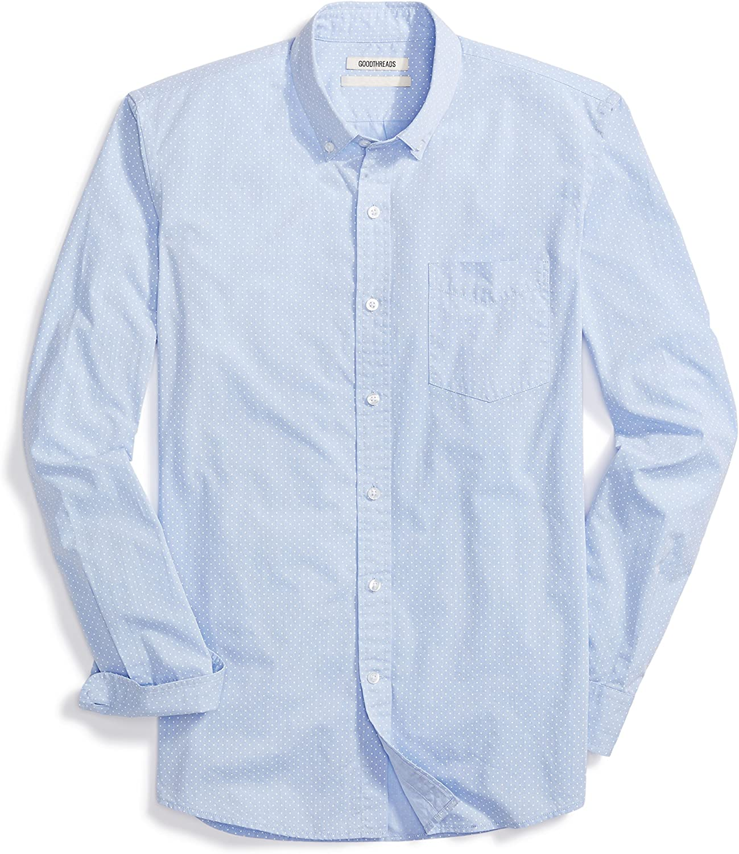 Goodthreads Men's Standard-Fit Long-Sleeve Dot Shirt