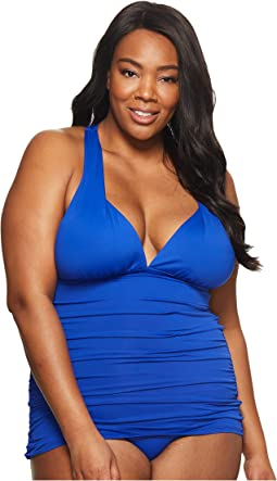 Plus Size Plunge Halter Mio One-Piece