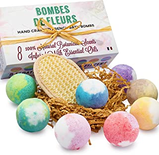 French Bath Bombs for Women with Loofah Mitt and 8-100% all Natural - Fresh Fizzy Floral Essential Oils Scents - Rose Lavender Mint Chamomile + Shea Butter + Aloe Best Vegan Spa Day Kit
