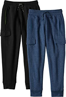 Alki'i Boys 2-Pack Ultra Soft Fleece Cargo Jogger Pants with Pockets